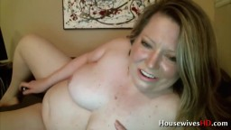 Lusty BBW Laura with big sexy belly masturbates phat pussy
