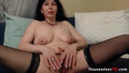 Passionate old lady Sylvana opens her pussy for a bad boy