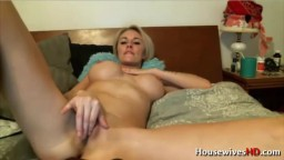Busty blonde Austyn wants to get off with a big purple toy