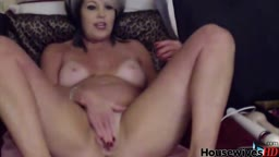 Hot housewife with tan lines and adult toys fucks herself