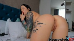 Tattooed trophy brunette pounds her perfect tight pussy