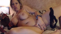 Breezy lady with immense boobs becomes horny after wine