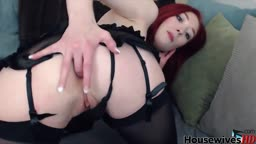 Red babe Kyra Six suspenders belt fingering ass hole