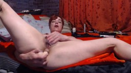 Smoking British cougar Alexa with double dildo penetration