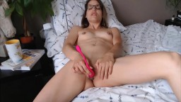 Fit Miss Aliss in sexy glasses masterbates tight pussy