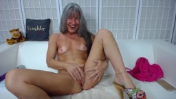Gray-haired grandma Leilani with a tiny muscular body