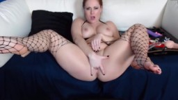 Redhead bisexual Chrissy in sexy nets wants to cum