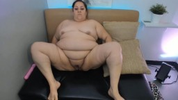 Sweet BBW Mary with massive belly spreads her legs