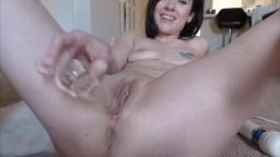 Petite BBC cuckold Claire Logan glass dildo fucking
