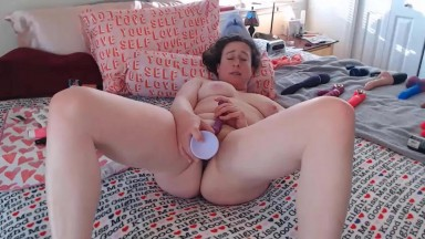 Curly wife Trixie loves to use her huge collection of sex toys