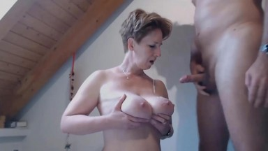Busty wife Gaby in fishnets fingered and roughly fucked