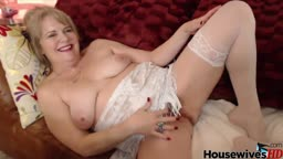 Hot old housewife Catherine with hairy wet pussy