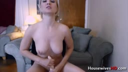 Posh blonde Julia Hart plays with her pussy and pale tits