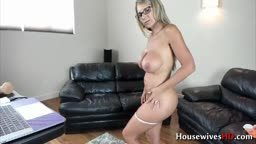 Busty MILF Ainslee Divine fucks dildo in cowgirl position